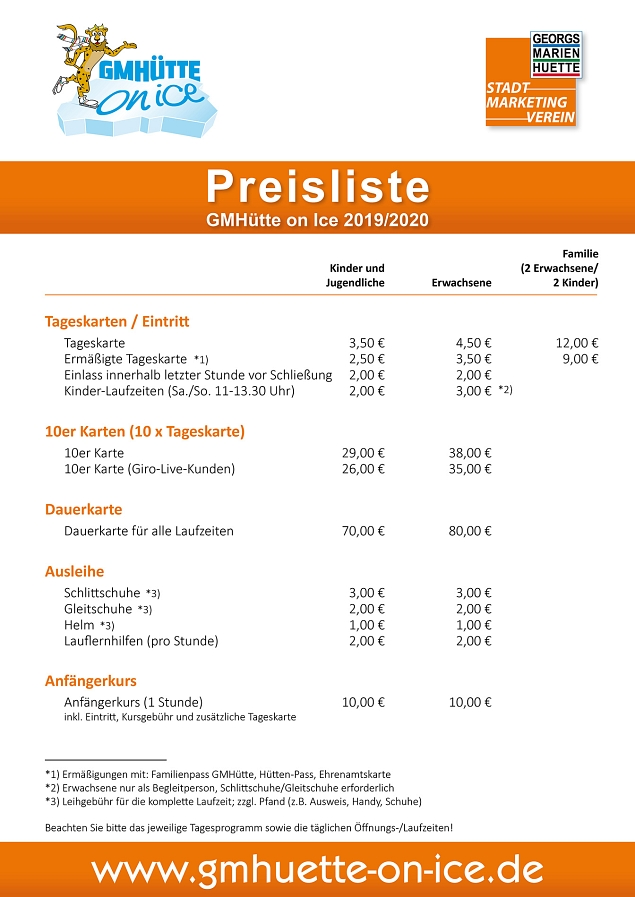 Preisliste GMHütte on Ice 2019 © Stadtmarketing Georgsmarienhütte e.V.